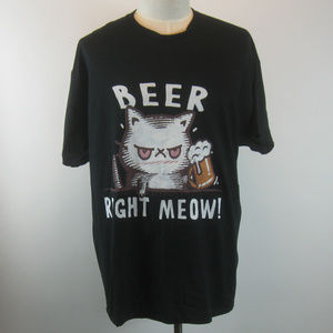 Men's Beer Right Meow Cat T-Shirt 2XL NEW